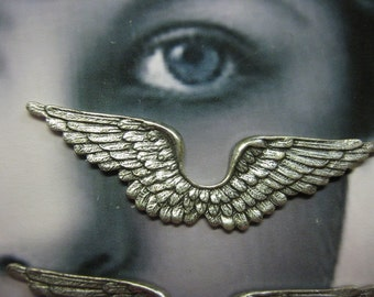 Large Silver Ox Double Angel Wings Stampings 363SOX x2