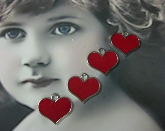 Red Enamel Heart Charms 1180RED x4