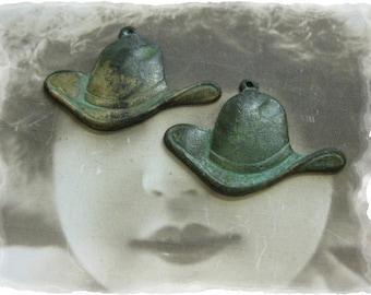 Verdigris Patina Cowboy Hat Charms 1079VER x2