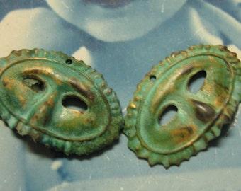 Verdigris Patina Brass Masquerade Mask Charms  632VER x2