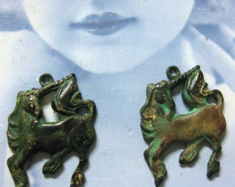 Verdigris Patina Brass Unicorn Charms 144VER x2