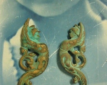 Art Deco Style Angel Stampings Verdigris Patina 358VER x2