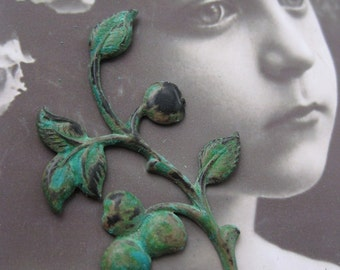 Verdigris Patina Brass Branch With Cherries and Leaves With or Without Hole 56VER x2