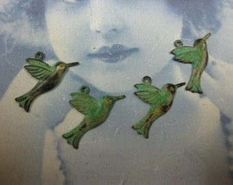 Verdigris Patina Brass Little Hummingbird Charms  306VER x4