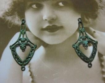 Hand Aged Verdigris Patina Filigree Earring Dangles 486VER x1PR