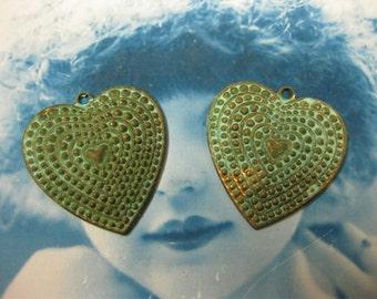 Verdigris Patina Brass Heart Charms 430VER x2