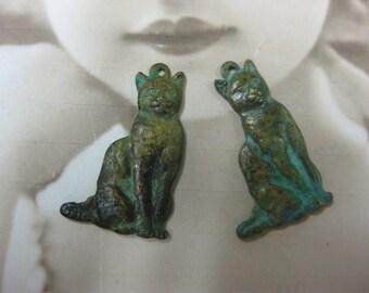Verdigris Patina Brass Cat Charms 153VER x2