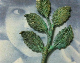 Hand Aged Verdigris Patina Small Leaf Branch 760VER x2