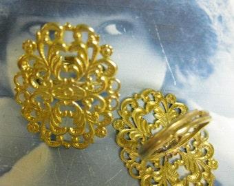 Raw Brass Filigree Adjustable Rings 953RAW x2