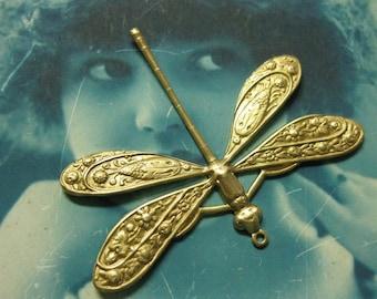 Raw Brass Ornately Detailed Dragonfly Pendants 322RAW x1