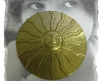 Raw Brass Large Shining Sun Pendant Charm with hole 1010RAW x1