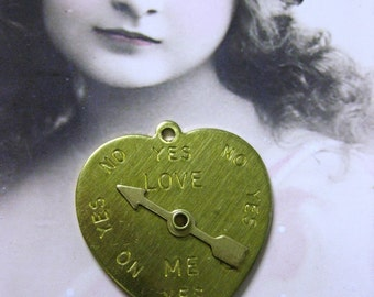 Raw Brass  Love Meter Charms Stampings 722RAW x2