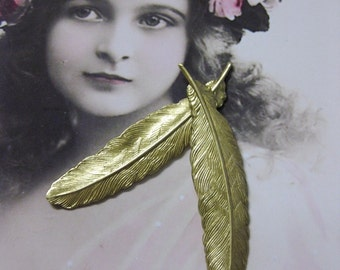 Raw Brass  Small Bird Feather Stampings 721RAW x2