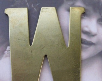 Raw Brass Letter W Typography Stamping Bent or Straight 599RAW x1