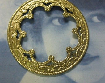 Raw Brass Scalloped Open Face Medallion Stampings 735RAW x2
