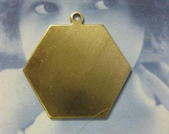 Raw Brass Hexagon Shape Tags 133RAW x2