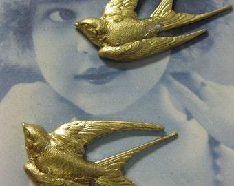 Large Raw Brass Bird Stamping 269RAW x1