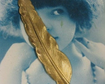 Natural Raw Brass Large Quill Feather Stamping Bent or Straight  925RAW x1