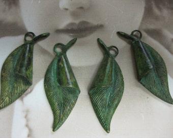 Verdigris Patina Leaf charms 732VER x4