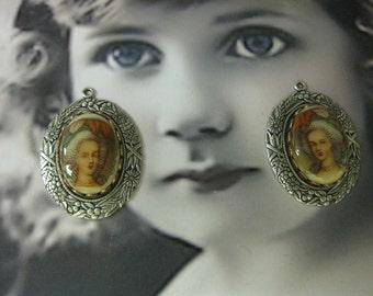 Vintage Marie Antionette Style Porcelain 18x13mm Cameo Cabochon 1151VIN X2