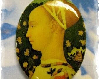 Vintage Renaissance Woman Porcelain 40x30 Cameo Cabochon 1067VIN X1