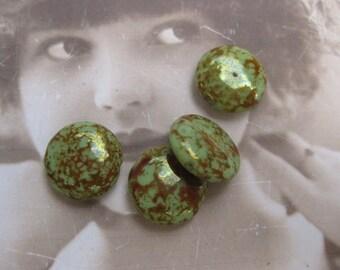 Vintage Austrian Glass Round Center drilled Beads 1112VIN x4