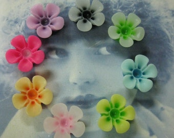 Resin Flower Cabochons Assorted Colors 751 x8