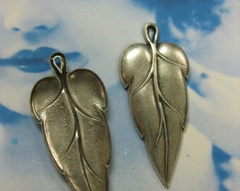 Sterling Silver Ox Plated Wonderful Leaf Charms  65SOX x2