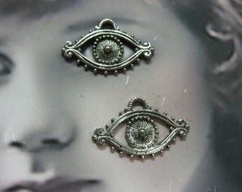 Antique Silver Plated Pewter Evil Eye Charms 2063SIL x2