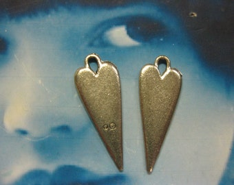 Antique Silver Plated Pewter Stylized Heart Charms 2079SIL x2