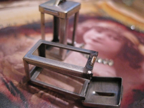 Silver Ox Plated Flip Top Cage Frame Pendants 641SOX x2