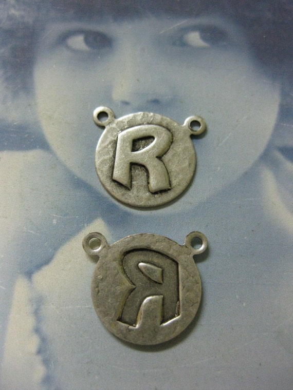 Silver Ox Plated  Art Deco Style Initial Charms Letter R 768 SOX x1