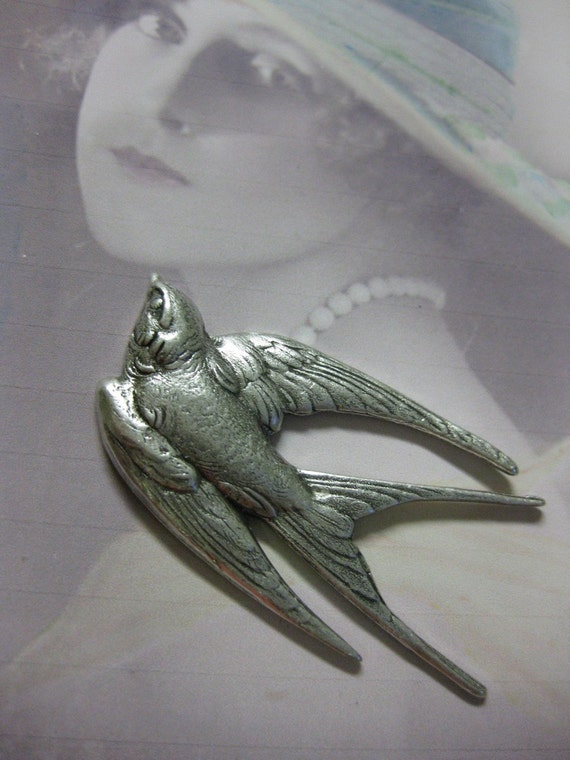 Sterling Silver Ox Plated Bird Stamping 269SOX x1