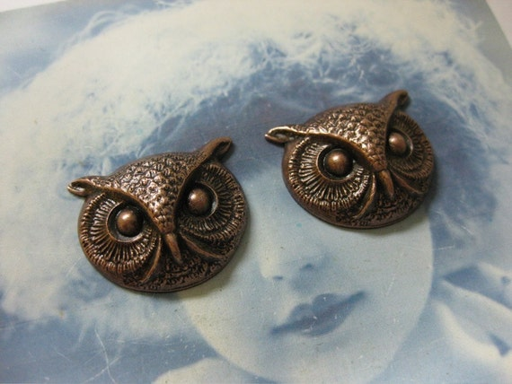 Copper Ox Plated  Owl Head Stampings With or Without Hole 294COP x2