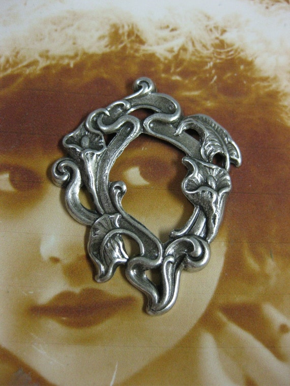 Silver Ox Plated Calla Lily Art Nouveau Stampings 737SOX x2