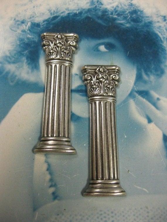 Silver Ox Plated Stunning  Brass Columns  713SOX x2