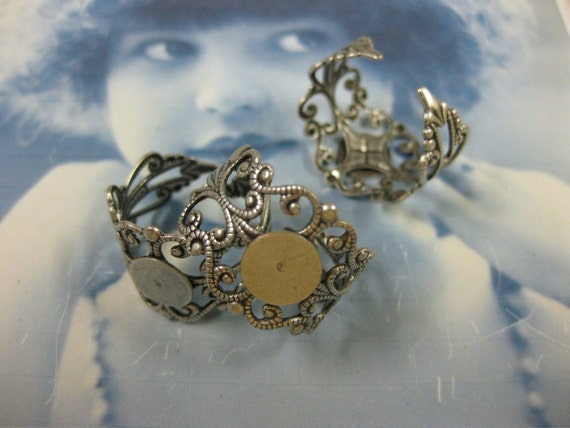 CLEARANCE VERY light weight Antique Silver Ox Plated Filigree Adjustable Rings 952SOX x4