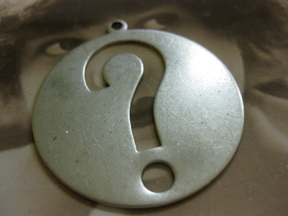 Sterling Silver Ox Plated Vintage Large Question Mark Pendant 162SOX x1