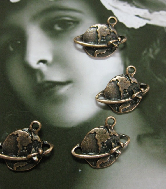Copper Ox Plated Plane Traveling the Globe Charms 1090COPx4