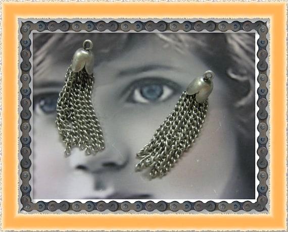 Silver Ox Plated 8 Strand Chain Tassels 1153SOX x2