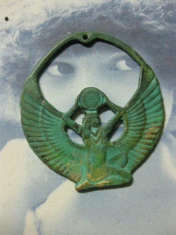 Verdigris Patina Egyptian Goddess Isis Pendant 753VER x1