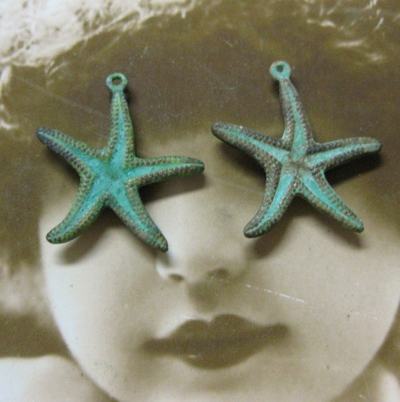 Hand Aged Verdigris Patina Two Sided Starfish Charms 588VER x2