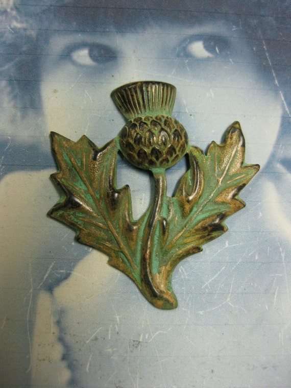 Floral Thistle Stamping Verdigris Patina 1053VER x1