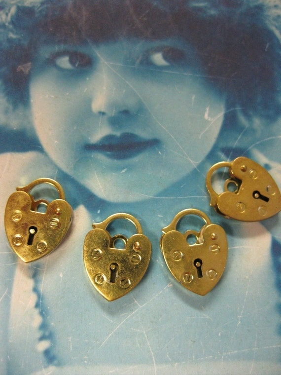 Pad Lock Heart Charm or Clasp Raw Brass 424RAW x4