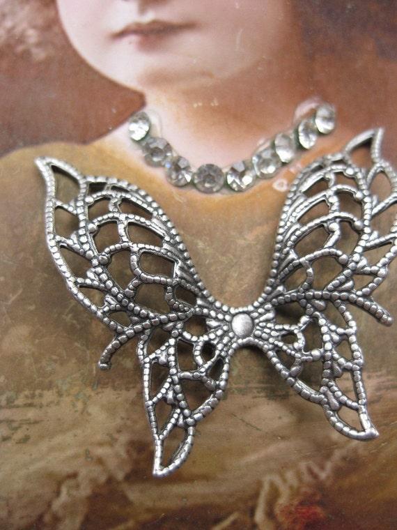 1 Pair of Great Filigree Angel Wings Silver Ox Plated Butterflies