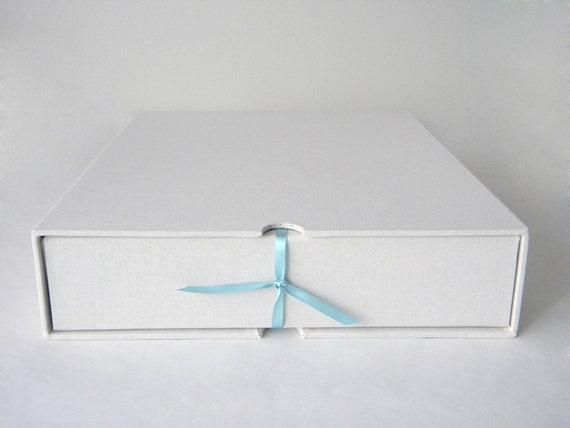 Drop Spine Box with Slipcase - 11 x 14 Inches - Handmade - Ready to Ship - Wedding Album, Artwork Photography Storage