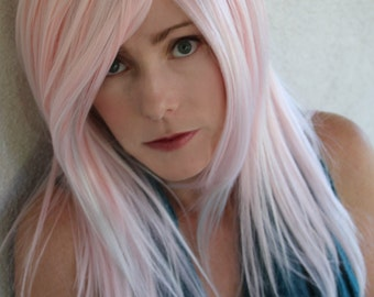 SALE //Pink Candy Wig with Silver Streaks