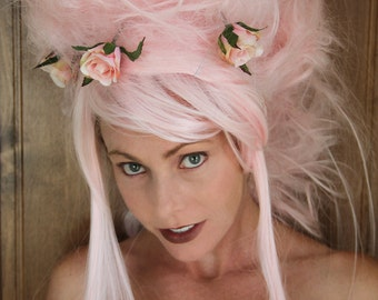 Marie Antoinette Wig // Ooak Pink Wig Wearable Art Halloween