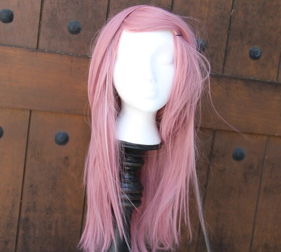 SALE // Pink Wig With Tiny White Streaks // Halloween Wig // Long Layered // Straight or Curl Heat Styleable
