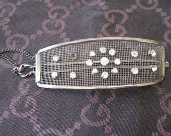 Vintage Antique Silver and Rhinestone Barrette